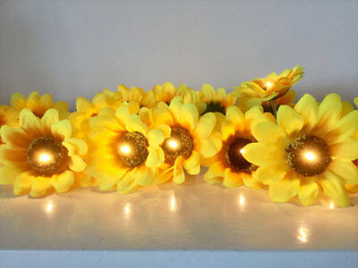 New Pier 1 Imports Plastic Yellow Sunflower Shaped String Of 10 Garden Lights