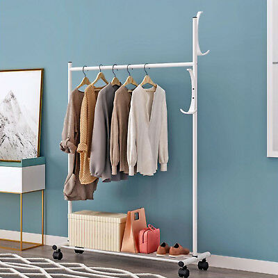 360° Universal Move Bedroom Garment Rack Coat Hat Clothing Rack Laundry Shelf