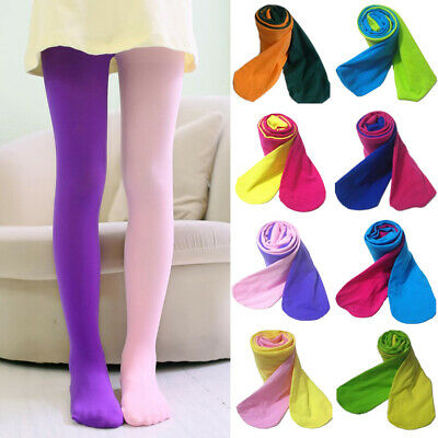 Child Girls Candy Color Ballet Dance Pants Kids Stitching Color Tights Pantyhose