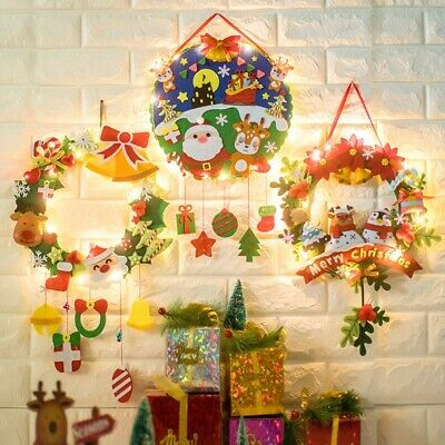 Christmas DIY Felt Wreath Pendant Xmas Handmade Decoration Hanging Material Kit