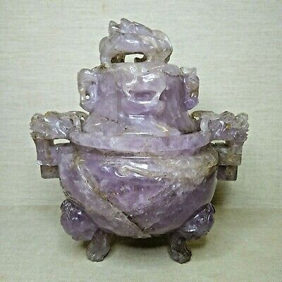 Antique Chinese censer,  made from Amethyst, 19th-20th century.