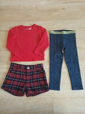 Girls Christmas set, red top, checked shorts and sparkley leggings age 3-4 years