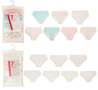 Girls 7 Pack Briefs Knickers Ex Uk Store Cotton Pants 2-13Y Colours/Whites Bnwt