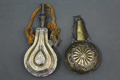 2 x Moroccan black powder horn flask - Late 19th early 20th century