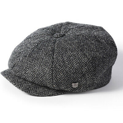 Failsworth Carloway Harris Tweed Dark Grey Peaky Blinders Style Newsboy Cap Hat