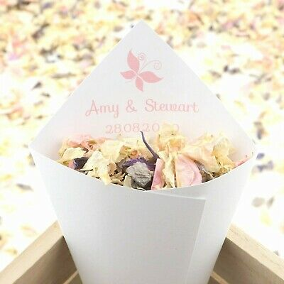 Personalised Handcrafted Butterfly Confetti Cones 100% Recycled Paperstock