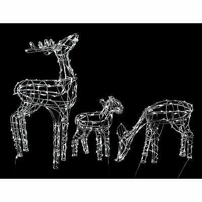 Pre-Lit LED Animated Decorated Reindeer Family Home Garden Christmas Decoration