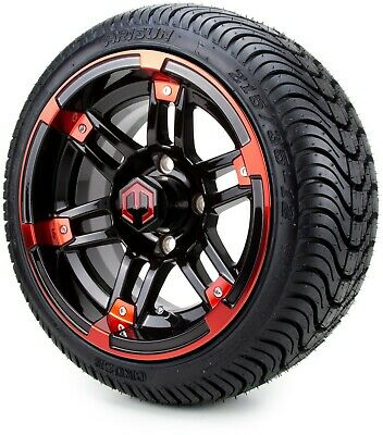 """12"""" Aftershock Red and Black Golf Cart Wheels and Tires (215-35-12) - Set of 4"""