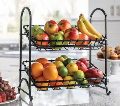Wrought Iron Fruit Basket 2 Tier Wire