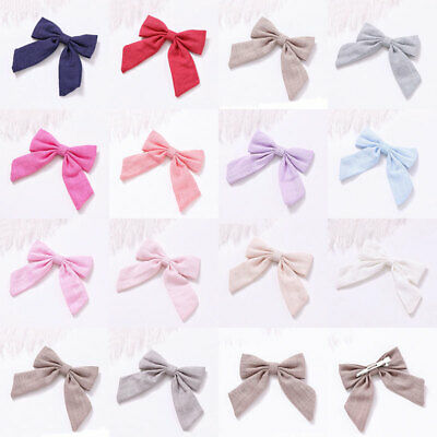 Big Bow Hairpin Cotton Linen Solid Long Tail Bow Hair Clip Sweet Girls Barrettes