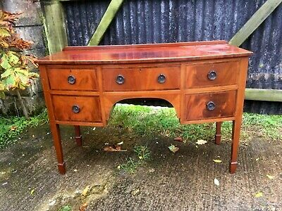 Edwardian Inlaid Mahogany Bow Front Writing Desk