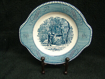 """Royal Currier & Ives Salad Plate Blue Tab Handles Drinking From The Well 7.25"""""""