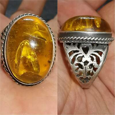 Antique wonderful Silver Ring With Natural AMBER  # 33