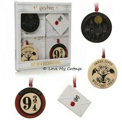 SET 4 HARRY POTTER Hogwarts Christmas Tree Decorations New Gift Boxed Official
