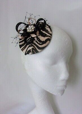 Black & Gold Nude Pearl Tiger Print Retro Mini Cocktail Percher Hat Fascinator