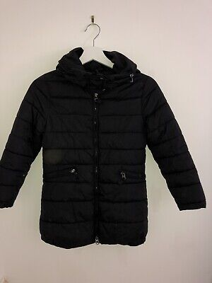 Zara Girls Black Quilted Coat With Zip-Up Hood Age 7-8