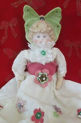 Bisque butterfly hand painted  doll with antique doll body  vintage bisque doll
