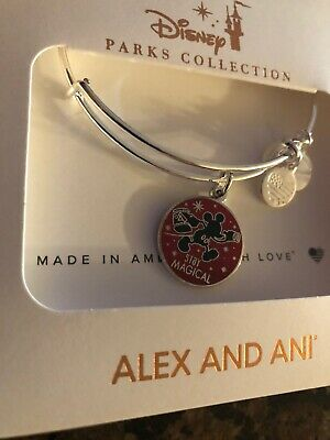 Disney 2019 Alex And Ani Mickey Mouse Stay Magical Silver tone Bracelet NEW