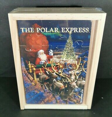 The Polar Express Wooden Puzzle 4 Designs Storage Box Christmas Idea NEW