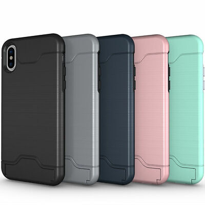Silicone Kickstand Card Hybrid Armor Case Cover For iPhone XS MAX 6S 7 8 Plus