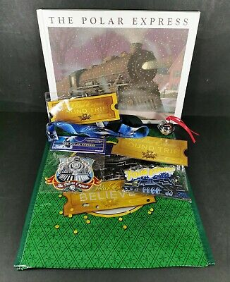 The Polar Express Book Bundle with Bag Patch Magnet Lanyard and Bell NEW