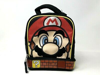 SUPER MARIO Boys Lead Safe Dual Chamber Insulated Lunch Tote Bag Box w//Carabiner