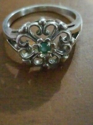 Sterling Green Stone Ring Size 10
