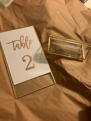 NEW Open Box Clear Acrylic Sign Holder w/ Gold Borders & Vertical Stand - 14/11