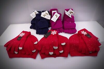 Women's Winter Knit Hat/Glove Set or Finger Less Gloves With Flip Mittens