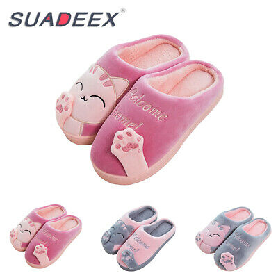 Womens Cute Cat Plush Slippers Indoor Winter Warm Soft Anti-Slip House Shoes