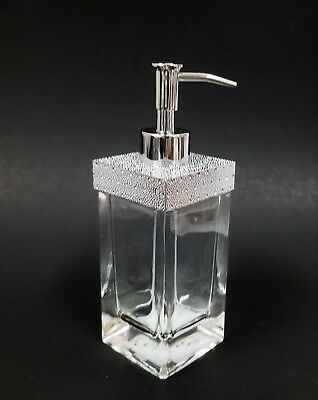 New Diamond Cut Silver+Crystals Thick Clear Glass Bathroom Soap Dispenser+Pump
