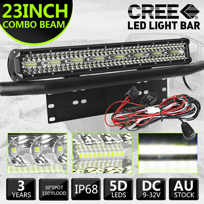 "23"" CREE LED Light Bar 3-Row Combo w/Number Plate Frame Mount Brackets w/Wire"