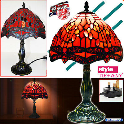 """Tiffany Style Handcrafted Glass Table Bedside Home Decor Light Lamp 10""""Shade Red"""