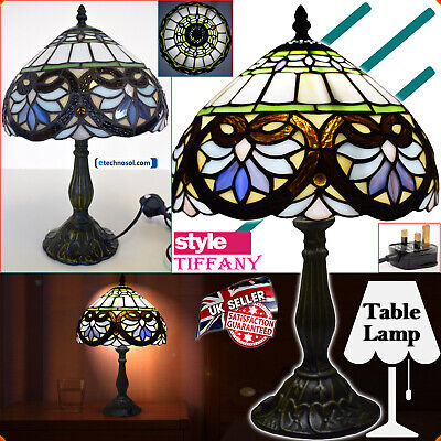 """Tiffany Style Handcrafted Glass Table Lamp Bedside Home Decor Light 10""""Shade UK"""