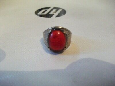 Antique Medieval Silver Ring With Rare Red Stone