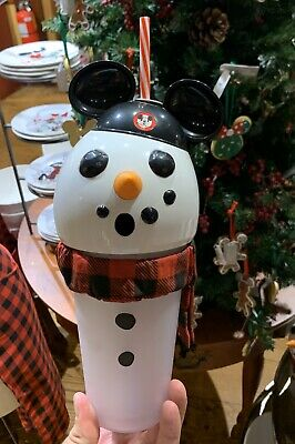 2019 Disney Parks Christmas Holiday Snowman Mickey Light up Sipper Cup NEW