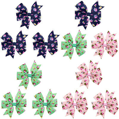 3 PCS Baby Child Floral Printed Bow Hair Clip Girl Cute Hairpin Hair Accessories