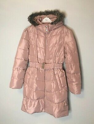 Blue Zoo Girls 11-12 Faux Fur Hood Quilted Padded Puffer Parka Coat Pale Pink