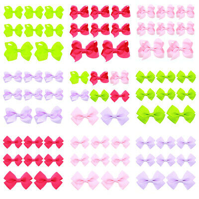 8 PCS Baby Toddler Bow Hair Clips Kids Solid Color Hairpins Cute Hair Accessory