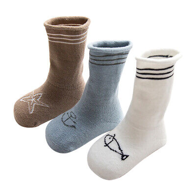 3 Pairs Baby Autumn Winter Warm Socks Thick Cotton Ankle Socks 0-36M Boys Girls