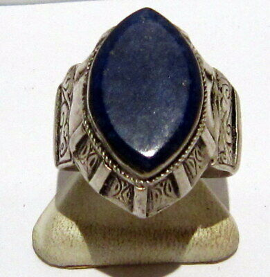 Post Medieval Silver Ring With Nice Engraving And Lapis Lazuli On The Top # 465