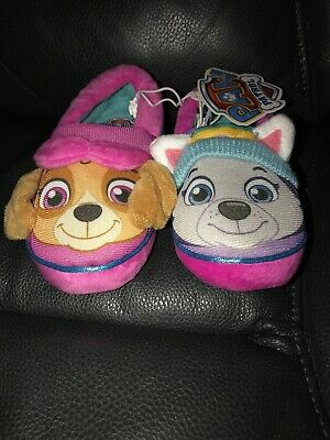 NWT Toddler Girls Paw Patrol Slippers Skye & Everest Small S 5/6 Soft & Cozy!