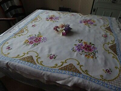 Vintage Hand Embroidered Linen Tablecloth Lovely Cross Stich Floral Bouques !