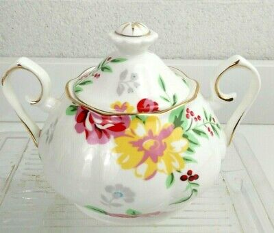 Gracie China By Coastline Imports Multicolor Flowers Victorian Sugar Bowl Cover