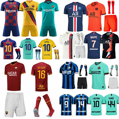 19/20 Football Soccer Kit Kids Boys /Adult Jersey Strip Sports Outfit With Socks