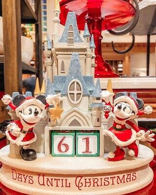 Disney Parks Santa Mickey & Minnie Christmas Countdown Calendar Figure Castle