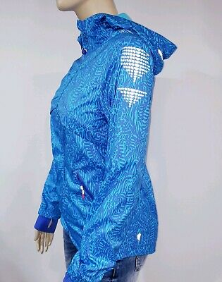 Ivivva Lululemon Girls 14 Blue Hooded Windbreaker Rain Jacket Reflective FullZip