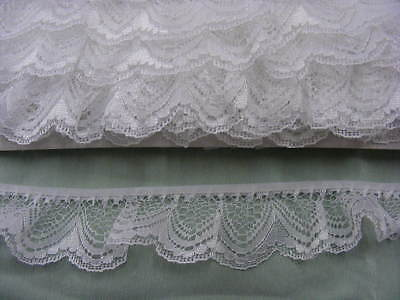 Gathered Lace White  5 metres  (251/1)