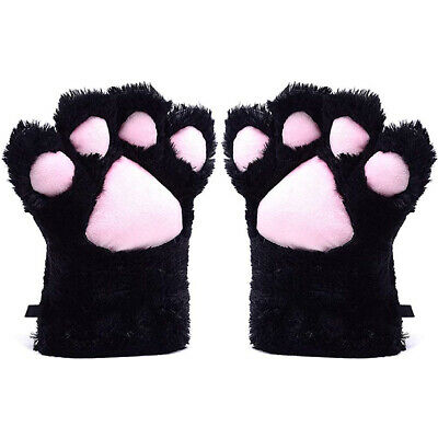 Womens Girls Faux Fur Winter Warm Gloves Cosplay Cat Paw Cover Mittens #AU