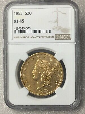 1853 XF45 NGC Liberty Double Eagle $20 Gold Coin eyeclean PQ (not PCGS)